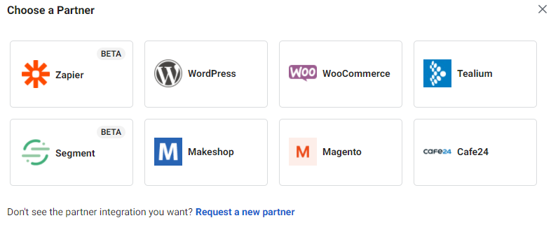 Zapier, WordPress, WooCommerce, Tealium, Segment, Makeshop, Magento, Cafe24